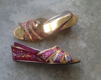 SALE - Plum and Gold Embroidered Wedges - 6