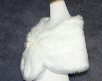 White ivory Faux Fur Shrug pretty bow warm winter coat pearl bridal accessories handmade Weddings Ivory Faux Fur Wrap  Faux Fur Stole