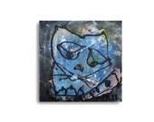 Katze, Original, von Sonja Zeltner-Müller, Zeichnung, Collage, Leinwand, free shippeing, blaue Malerei,  mixed media, moderne Kunst,