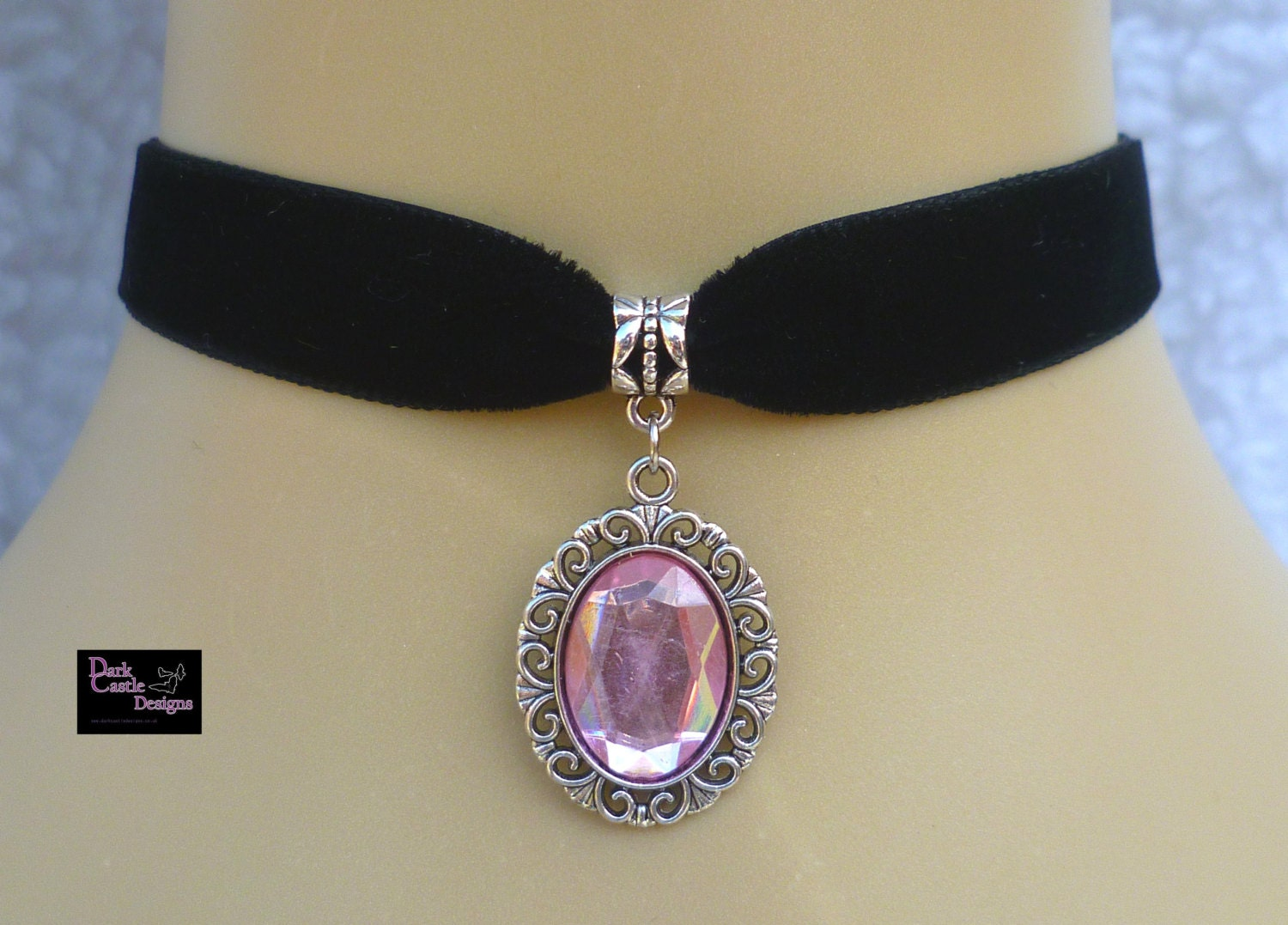 Black Velvet Choker/ Necklace with Baby Pink Acrylic Jewel Pendant Wicca Pagan gothic Steampunk Loloita steampunk buy now online