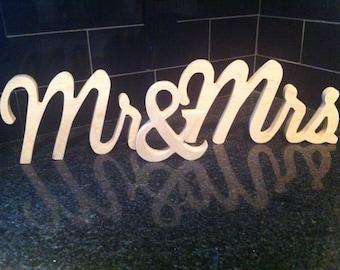 "6"" Unfinished wooden mr & mrs mr and mrsWedding Gift, Bridal Shower Gift, Engagement Gift. Mr and Mrs Wedding Sign"