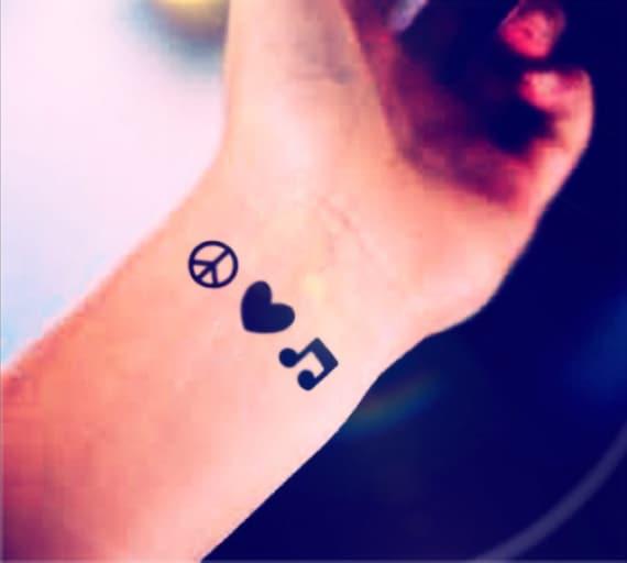 Peace Love Music Tattoo Designs