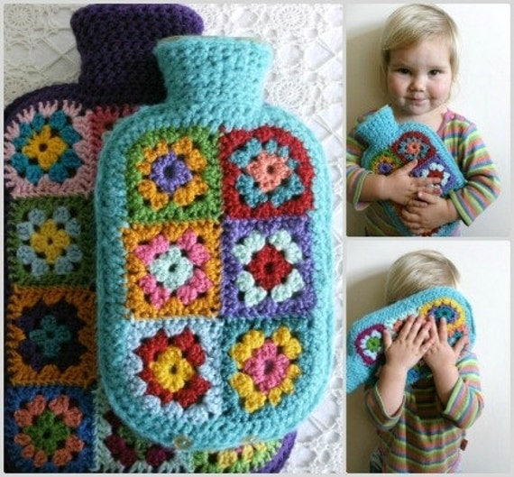 Granny Square Hot Water Bottle Cover PATTERN PDF DIY Hottie Cover by Alexandra MackeNZie