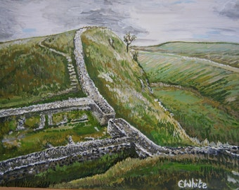 Limited edition colour print of original Hadrians Wall acrylic painting