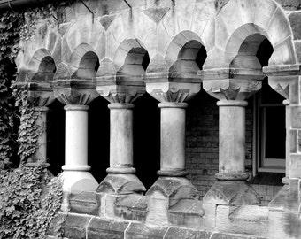 Urban Photography, #0346, COLUMN AND ARCHES, architectural detail, City of Toronto, black and white, photographic print.