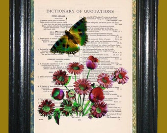 Emerald Green Butterfly with Red Daisies Illustration Art Green Butterfly Print Upcycled Vintage Dictionary Page Book Print