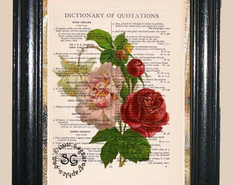 Antique Roses - Vintage Dictionary Book Page Art Print Upcycled Page Art Collage Art Roses Print