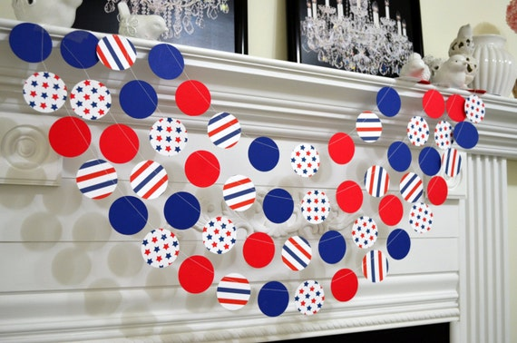 Red white blue paper garland patriotic banner garland - Red white blue decorations ...