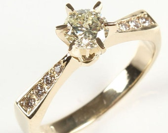 1/2 carat Diamond Engagement Ring, Solitaire 14K Yellow Gold Ring, 0.50 Total Carats SI1-I1 J-L, Women Jewelry, Custom Size
