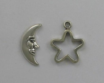 Sterling Silver Moon & Star Toggle Clasp