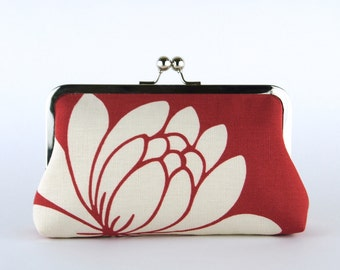 Bridesmaid Gift, Red Lotus Clutch, Silk Lining, Bridesmaid Clutch, Wedding clutch
