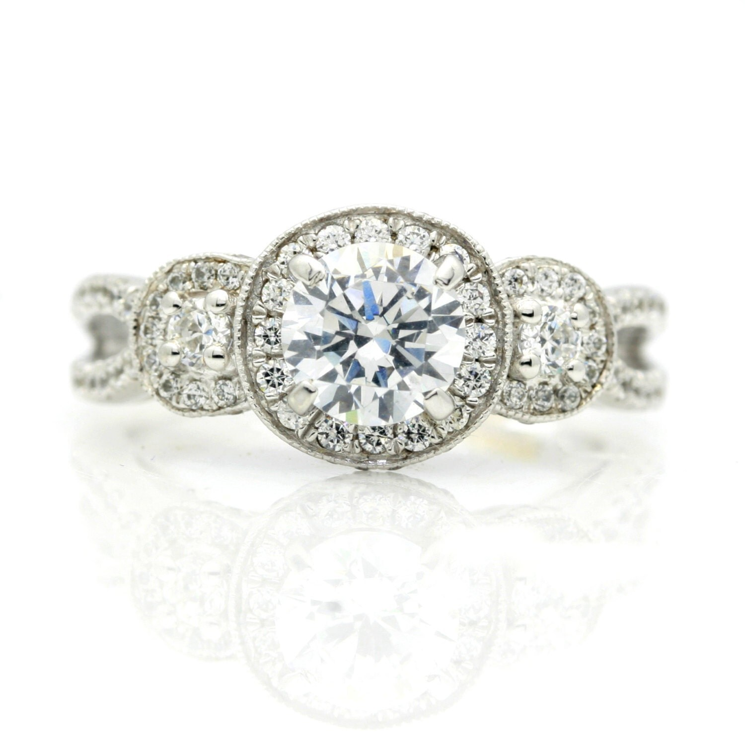 Moissanite Engagement Ring Unique 3 Halo 1 Carat Forever