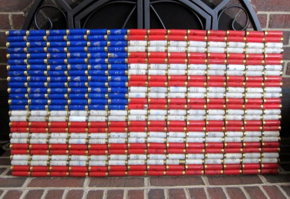 "Shotgun Shell American Flag 39 x 21"" Patriotic Wall Decor"