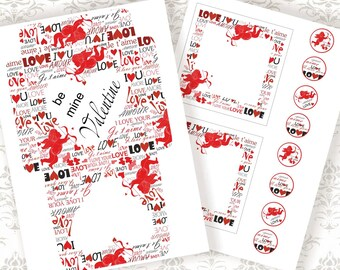 AMOURs - SET 2 sheets: envelope cards stickers - Printable Download Digital Collage Sheets - Download and Print