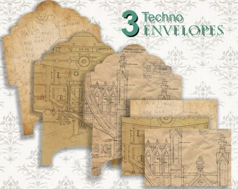 VINTAGE TECHNO - set 3 Envelopes - Printable Download Digital Collage Sheets - DIY Project Scrapbooking Supplies
