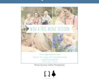 Instagram Marketing Templates - Mini Sessions - Photography Marketing Set - 5x5 Flat Card  - Instant Download - Photography Promotion Cards