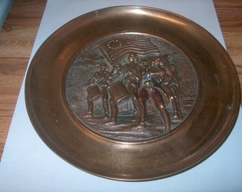 Vintage Metalware  Bronze?  Plate, WAS 20.00 - 50% = 10.00