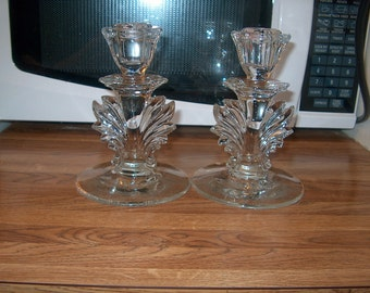 Vintage Fostoria Glass Candleholders, Etched, WAS 25.00 - 50% = 12.50