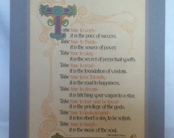 Art nouveau style Old english prayer American greetings