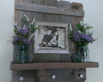 Reclaimed Barn Wood Picture Frame with a Shelf and Star Knobs