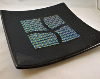 8x8 inch dichroic fused glass dish