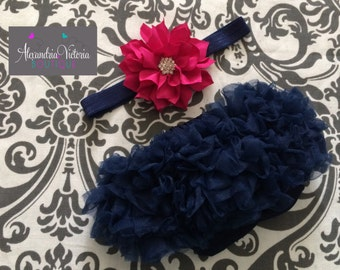 NAVY BLUE BLOOMER set, baby headband and chiffon ruffle diaper cover,  navy blue and fuschia baby set, photo prop, shabby chic