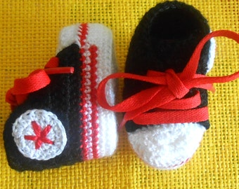 baby booties sneakers converse style all stars double sole black white and red