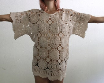 Dramatic Vintage Hand Crocheted Top
