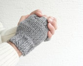 Knit Gray Men Gloves / Fingerless Gloves for Men / Wrist Warmers - LedaDesign