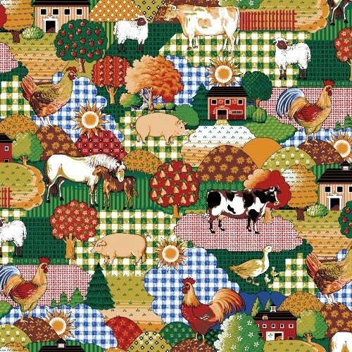 Novelty chicken barn yard fabric by the yard ideal for