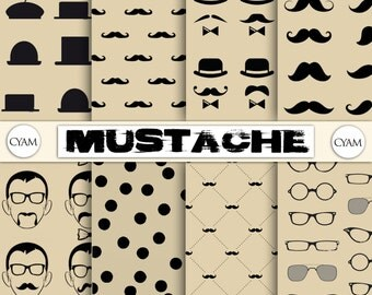 Hipster Mustache Digital Paper: Instant Download. Hipster Mustache background