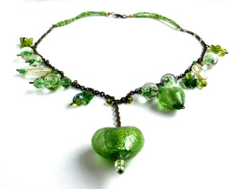 Green - Y Necklace - Repurposed Jewelry - Assemblage - Mixed Beads