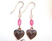 Heart Swirls Beaded Earrings