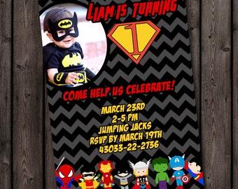 Super hero invitation, batman invitation, free customized wording included