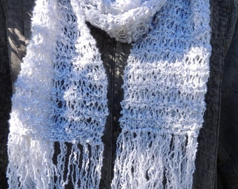 Grey/ silver woollen scarf. Hand knitted. Silver scarf. Womans scarf. Scarves.knit. long scarf. fashion scarf. Scarf. Handmade. Hand knit.