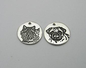 Dog Charm, Cat Charm, Pet Photo Jewelry, Pet Lover Charm, Engraved Pet Photo, Animal Lover, Dog Memorial, Cat Memorial, Engraved Dog Charm
