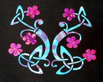 Celtic Knots with Flowers Quilt Applique Pattern Design