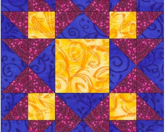 Contrary Wife Flower Square Paper Piece Foundation Quilting Block Pattern