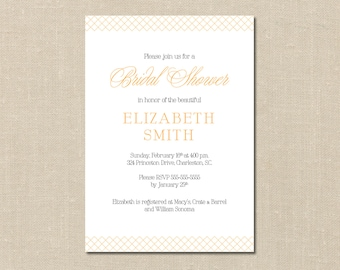 Custom Bridal Shower Invitation - Printable - DIY - Card