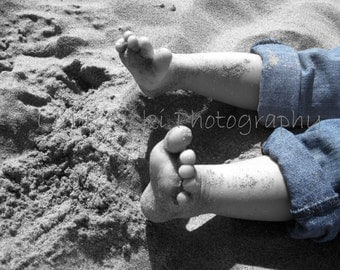 Fine Art BEACH Photograph; FEET toes in sand, black & white photo faded blue jeans in color; child baby ocean home decor dreamy wall art