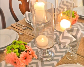 SIMPLYTABLERUNNERS GRAY TABLE Runner 13 x 72 Gray Chevron Table Runners silver Wedding Showers Decorative Grey Holiday Table Runner Cloth