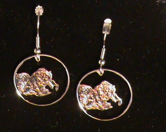 US State Quarter from Alaska  hand cut and made into earrings