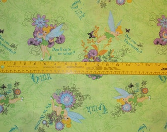 Tinkerbell Fairy Pixie Cotton Fabric BTY HTF