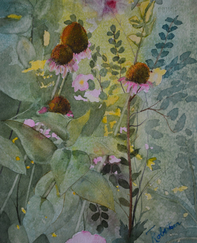 Watercolor Flower Painting: Floral Watercolor Painting Pink Echinacea Flower Fine Art
