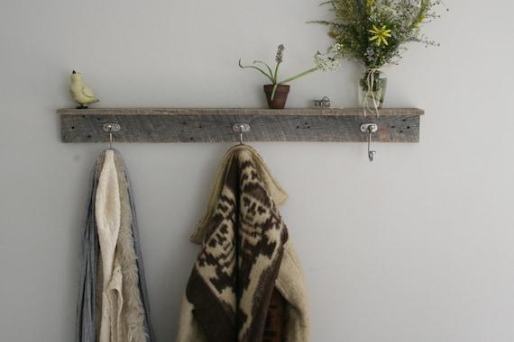 Reclaimed Coat Rack with Shelf : 3 Hooks