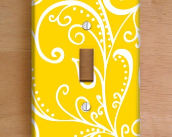 Silent Era, Yellow Vinyl Light Switch Cover, Outlet Cover, Wallplate, Home Decor, Swirls, Yellow and White, Elegant, Vinyl Wall Cover