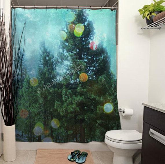 Winter wonderland printed shower curtain bathroom decor home blue