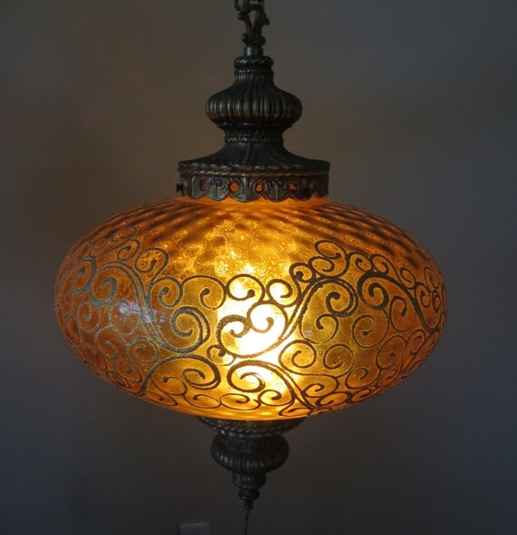 Mid Century Swag Lamp: RESERVED-Vintage Mid Century Amber Glass Swag Hanging Lamp UFO