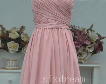 Short A-line Blush pink Chiffon Bridesmaid Dress