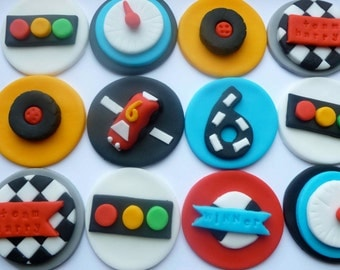 Grand Prix - Go Karting Fondant Cupcake Toppers - checkered flag, car wheels, speed gauge and lights